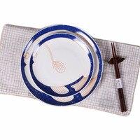 日本レトロ平板魚デザインボーンチャイナステーキ食品トレイフルーツ朝食食器青と白コンテナ8