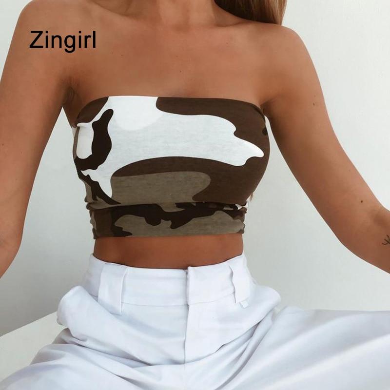 Zingirl Slash Neck Skinny Sexy Cropped Top Tees Women Fashion Camo Summer Bandeau Female Strapless Beach Casual Tube Tops