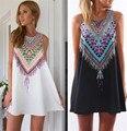 Tribal imprimir blusa 2016 Boho Scarf Print Floral Verão Mulheres Chiffon Blusa Encostar Senhora Partes Superiores Legal XS-L