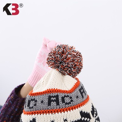 Winter Hand Knit Hand-Made Mixed Color Pompoms Jacquard Snowstar Winter Beanie Hat (2)