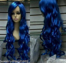 Wholesale heat resistant LY free shipping New wig Heat Resistant Cosplay Fashion cosplay blue long curly