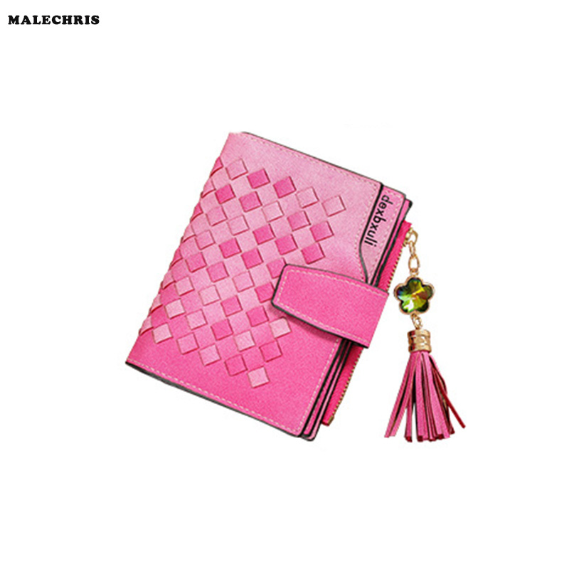 Women Wallet Multi-card Bit Card Package PU Leather Woven Fashion Ladies Wallet Girl Zipper Knitting Pink Color Purse