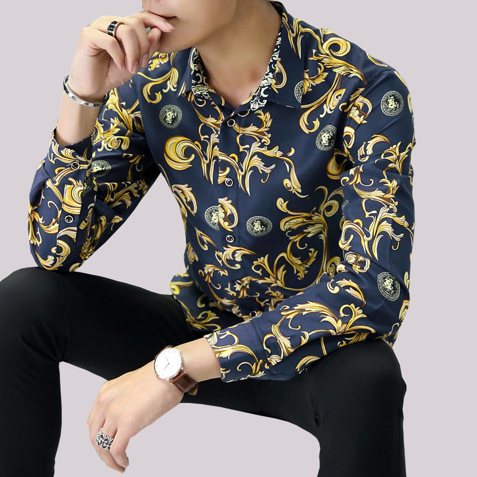 floral men shirt 2017 top quality elegant fashion print