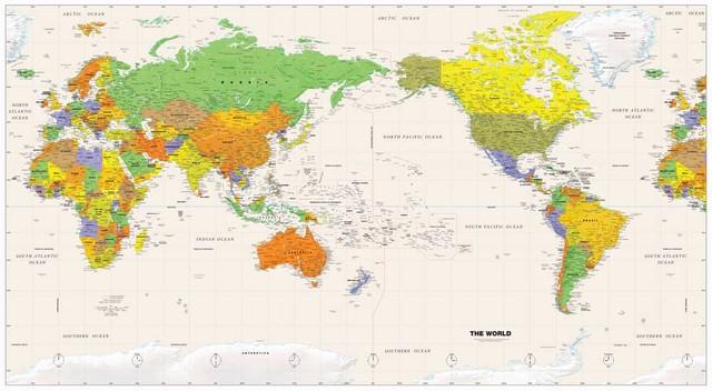 Vintage World Map CANVAS Art Print Home Huge Canvas Painting Wall - Huge world map for wall