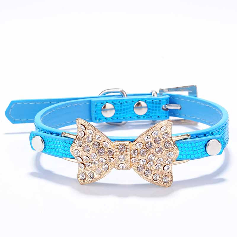 SYDZSW PU Leather Dog Collars & Leads Puppy Pet Leash Luxury Pet Products Diamond Bow Tie Chihuahua Collar Necklace for Cats Dogs6