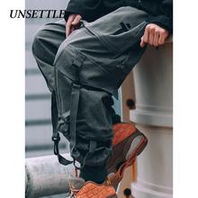 Zachwiać japoński boczne kieszenie spodnie Cargo spodnie w stylu wojskowym mężczyzn Hip Hop mężczyzna taktyczna spodnie męskie spodnie do biegania na co dzień spodnie Streetwear tanie tanio Unsettle Cargo pants COTTON Zipper fly Pełnej długości Plisowana Heavyweight Mężczyźni Luźne Batik