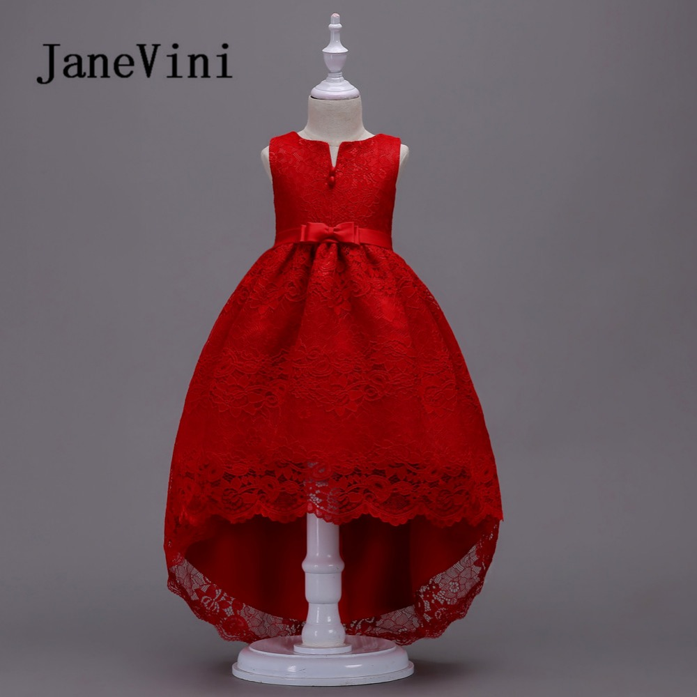 JaneVini 2018 Red Lace High Low   Flower     Girl     Dresses   Bow Back Sleeveless Vintage   Girl     Dresses   Floor Length First Communion Gowns