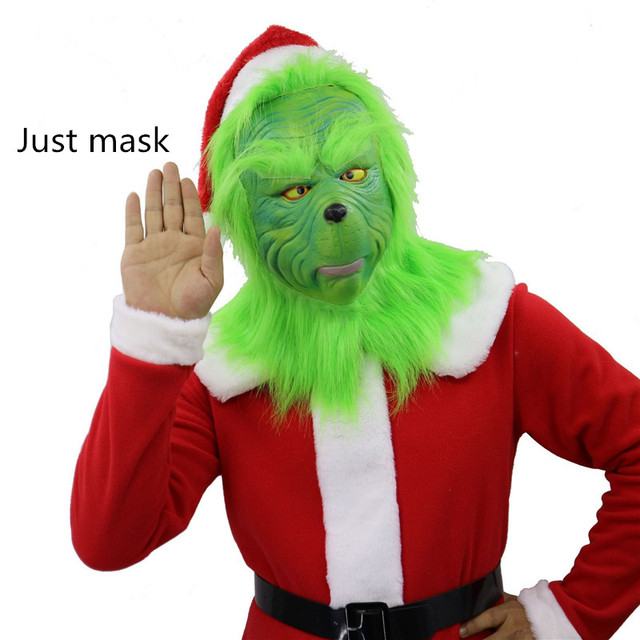 How The Grinch Stole Christmas Costumes.Us 5 17 31 Off The Grinch Christmas Facial Mask Cosplay How The Grinch Stole Christmas Costumes Hair Latex Full Face Women Adult Female In Movie