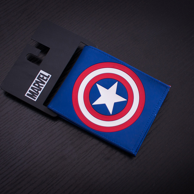 Comics Marvel Men PVC Wallet Captain America Anime Cartoon Purse Card Money Bags Male Leather Wallets