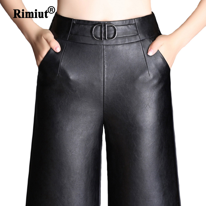 Rimiut Female Trendy Punk PU Leather   Wide     Leg     Pants   For Women Casual Autumn Winter Loose Ankle Length   Pants   Black Color