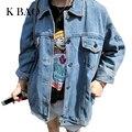 Mujeres básica abrigos de primavera otoño mujer denim jacket 2017 vintage más tamaño suelta la hembra jeans chaqueta de la capa ocasional de las muchachas outwear