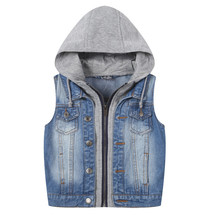 New 2017 Hooded Boys Jeans Vest Children Denim Sleeveless Outerwear Patchwork Spring Boys And Girls Denim Vest Jackets For 2-10Y стоимость