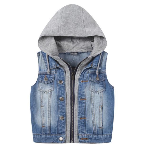 d3e3f5ca5 New 2018 Hooded Boys Jeans Vest Children Denim Sleeveless Outerwear ...