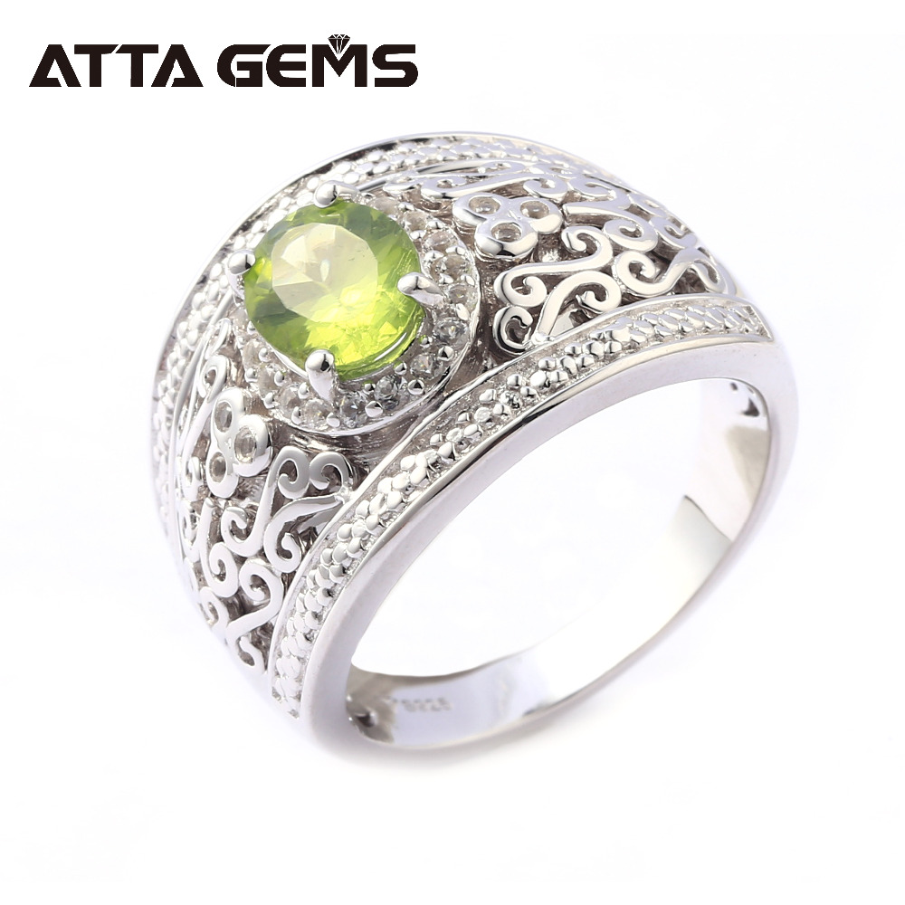 Natural Peridot Silver Ring for Women August Birthstone Faced Cut Top Quality Natural Gemstone Crystal Women and Men Rings