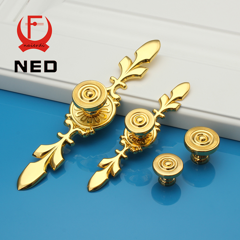 NED 120MM Color Gold Handles Kitchen Door Cupboard Zinc Alloy European Retro Wardrobe Furniture Handle Drawer Pull Cabinet Knobs
