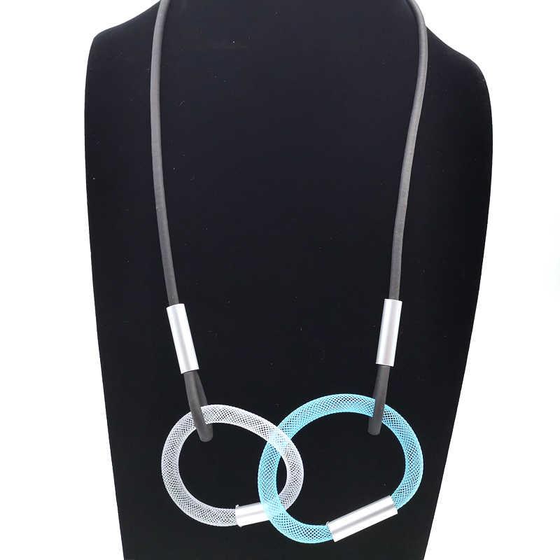 2019 Новые разноцветные круглые подвески и ожерелья для женщин цепочка для ошейника ручной работы резиновые ювелирные изделия Длинные ожерелья подарок девушка чокер