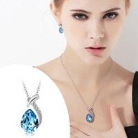 Ano novo presentes t400 feito com swarovski elements colar de pingente, para mulheres, aquamarine jóias pingente #1871, frete grátis