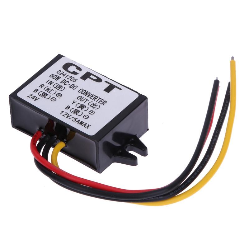 VODOOL DC to DC Car Power Converter Adapter 24V To 12V 5A 60W Car Power Step-Down Buck Module Free Shipping инверторы и преобразователи dc dc buck converter dc dc 24v 12v 1 5a 200584 24v to 12v car buck converter