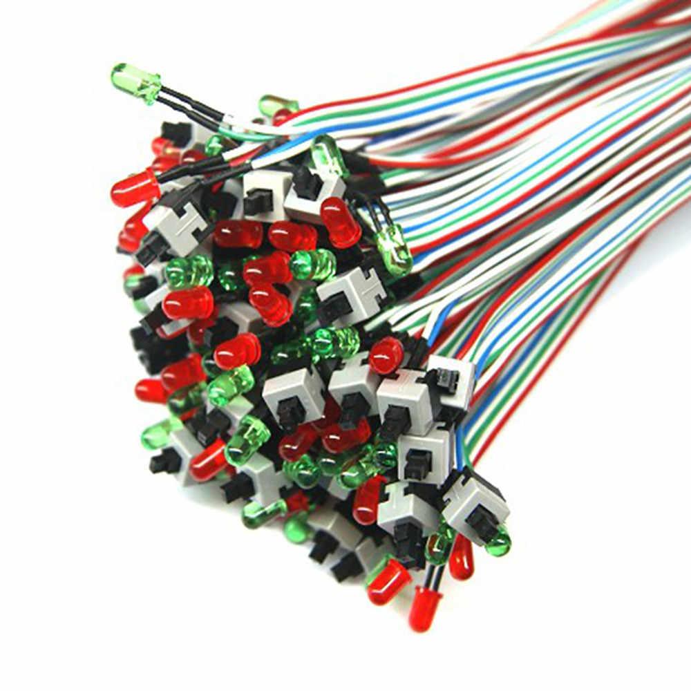 50 センチ ATX PC 計算マザーボードの電源ケーブルスイッチ On/Off/Led ライトでリセット O.18