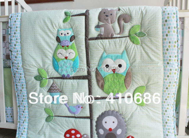 Hy Owls And Friends Baby Nursery Crib Bedding Set Owl Boy Cot Embroidered Quilt Per