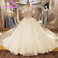 2017 New Short Sleeve Lace Wedding Dress Ball Gown Scoop Neck Backless Bridal Dresses Vestido De