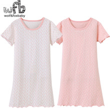 Retail 3-14 years short-sleeves cotton children's home wear nightdress girl pajamas autumn fall summer Spring sweet