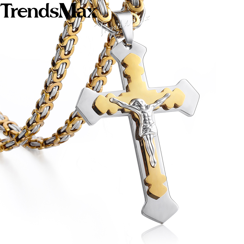 Mens Necklace 2 Layers Cross Pendant Stainless Steel Chain Gold Black Silver Necklace for Men,Black Silver,28inch 70cm