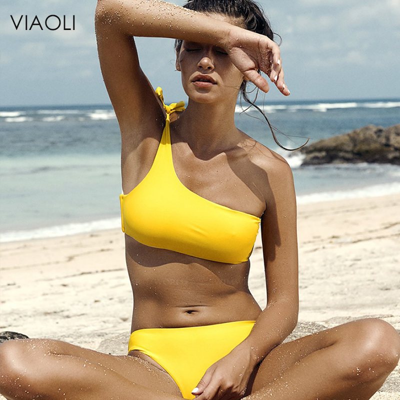 Bright Yellow Bikini 2018Sexy High Waist One Shoulder Two Pieces Swimsuit Swimming Suit Swimwear Women Bathing Suit Swim Biquini