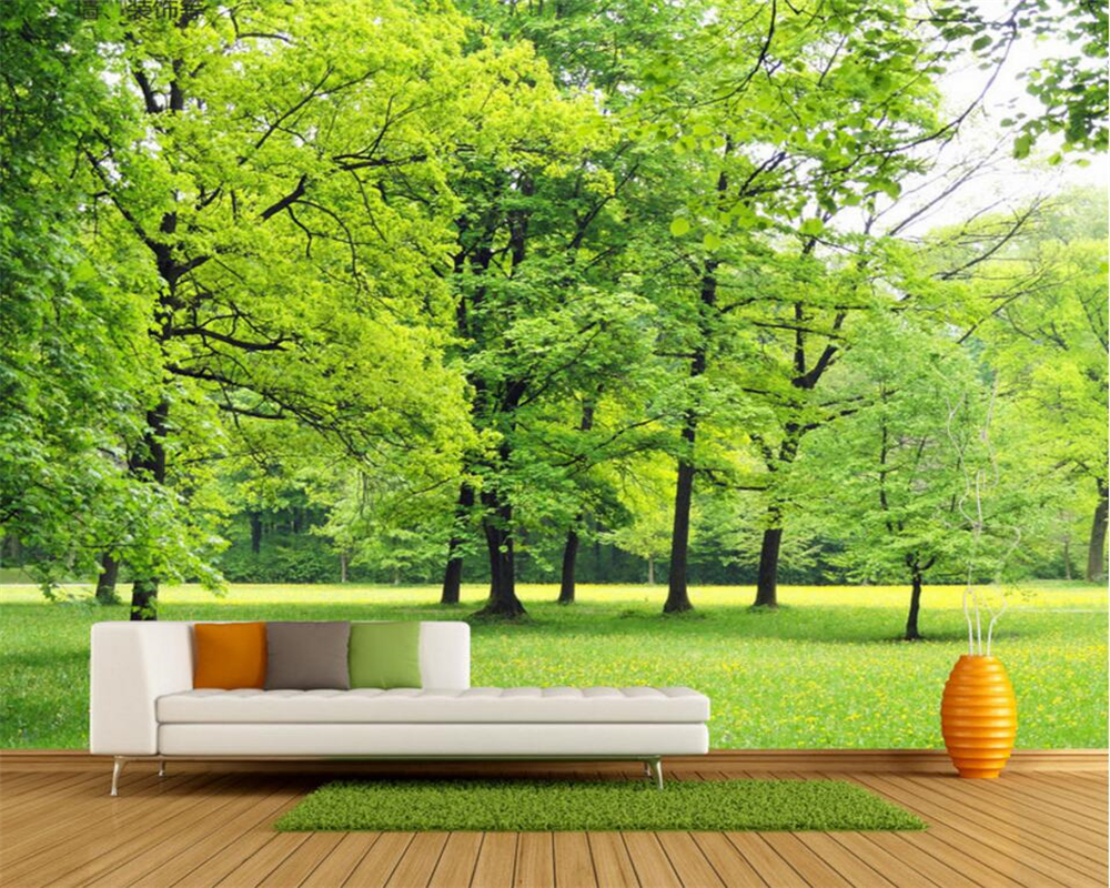 background wall living tv bedroom landscape trees mural papers decor beibehang