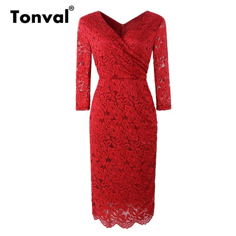 Tonval Red Elegant Floral Lace Office Lady Pencil Dress Elegant Workwear 2019 Women 3/4 Sleeve Bodycon Sheath Dresses