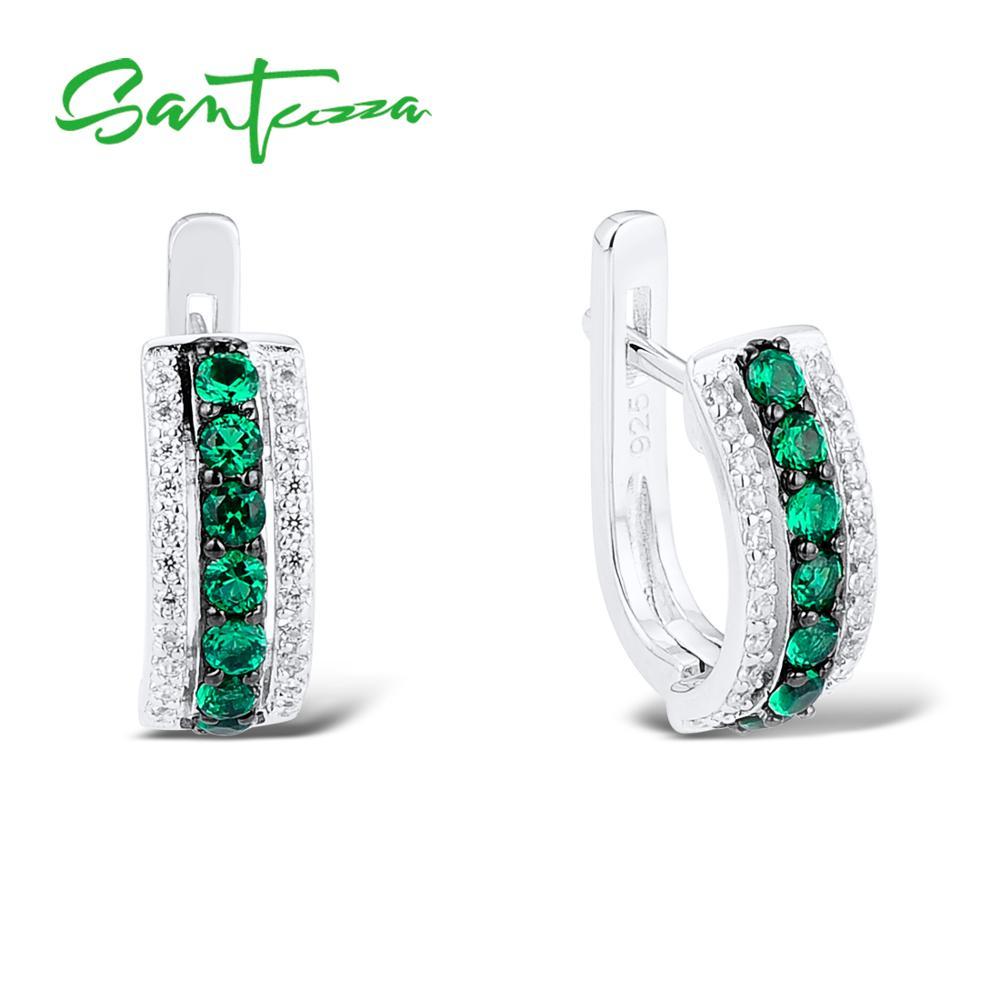 все цены на SANTUZZA Silver Earrings For Women 925 Sterling Silver Stud Earrings Silver 925 with Stones Cubic Zirconia brincos Jewelry онлайн