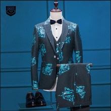 Dark Blue 3D Floral Style Suit Men's Suits Blazers Male Singer Stage Slim Fit Groom Wedding Prom Business Mens Tuxedo three Piece
