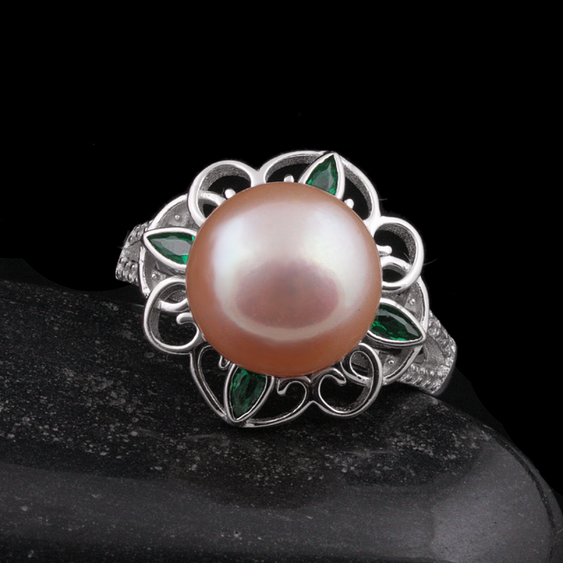 [MeiBaPJ]Real 925 sterling silver ring 11-12mm freshwater pearl flower ring For Women Top Quality Plus Gift Box