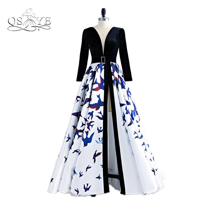 2018 New Arrival 3D Floral Print Formal Evening Dresses Robe de Soiree V Neck Long Sleeves High Slit Long Prom Dress Gowns