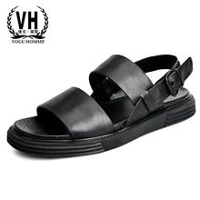 summer sandals men Korean version breathable Genuine Leather Roman mens slippers male gladiator