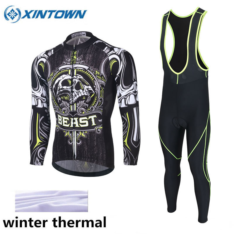 XINTOWN Winter Thermal Cycling Clothing 2017 Men Fleece Jersey Bike Bicycle Suits Cycling Kit Ropa Ciclismo Red Green black thermal fleece cycling clothing winter fleece long adequate quality cycling jersey bicycle clothing cc5081