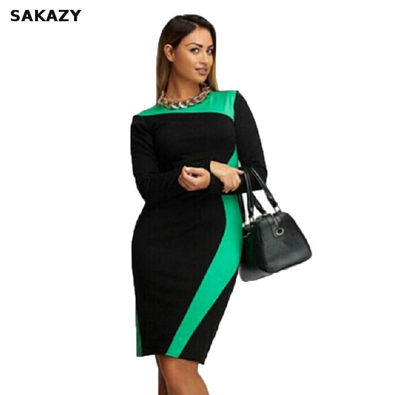 Sakazy plus size L-6XL bodycon elástico feminino vestido elegante retalhos modesto gordura mm ol vestidos de festa casuais m119