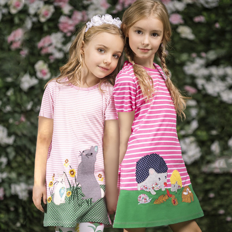 Cartoon Animals Girls Dresses Summer 2018 Cotton Girl Princess Dress Striped Children Dresses Vestidos Short Sleeve Kids Dresses scarlett sc ek18p10 white grey чайник электрический