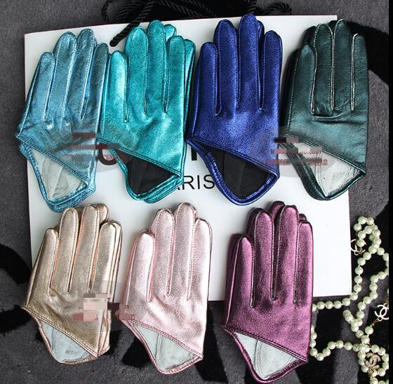 Women's Runway Fashion Natural Sheepskin Leather Half Palm Gloves Female Performance Dancing Genuine Leather Glove  R1131