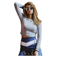Women T Shirt Long Sleeve Embroidery Animal Crop Tops Tee Winter Bodycon Fashion T Shirt Femme