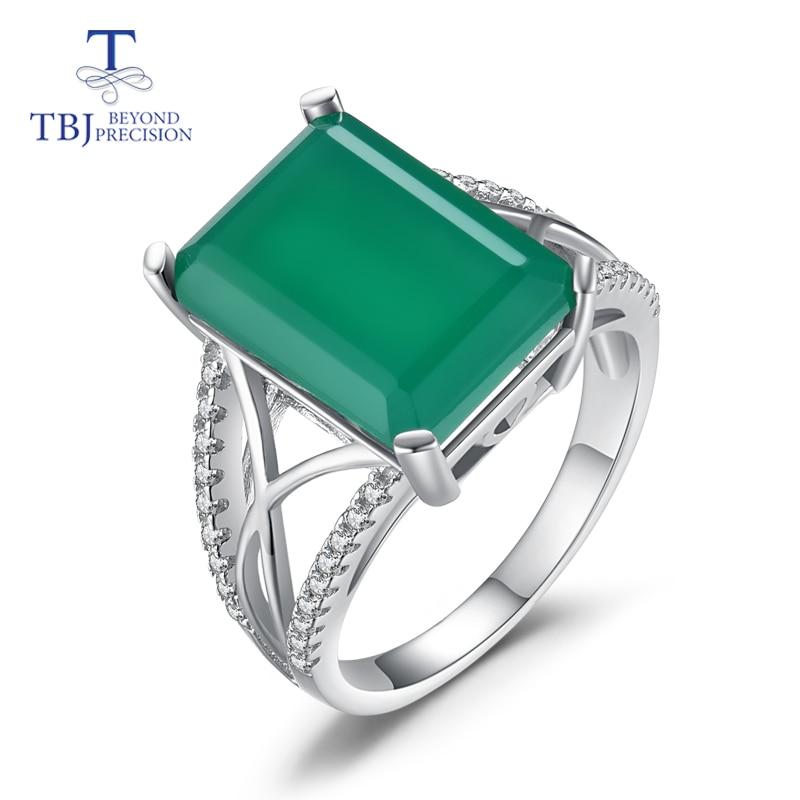 TBJ, grote edelsteen Ring met natuurlijke groene agaat in 925 sterling silver grace en adel edelsteen sieraden voor vrouwen dames gift-in Ringen van Sieraden & accessoires op  Groep 1