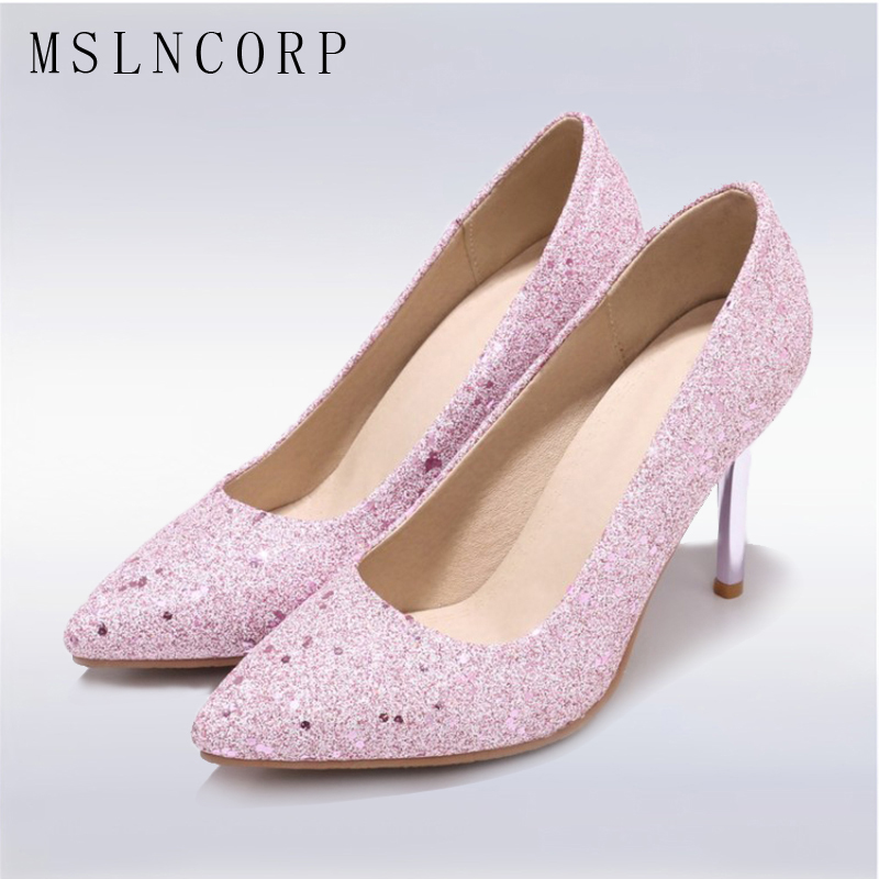plus size 34-48 Spring Autumn Thin High Heels Women Pumps High Quality Sexy Fashion Dress Stiletto slip on party wedding Shoes plus size 34 48 genuine leather high quality sexy women pumps pointed toe shoes thin high heels wedding shoes party dress shoes