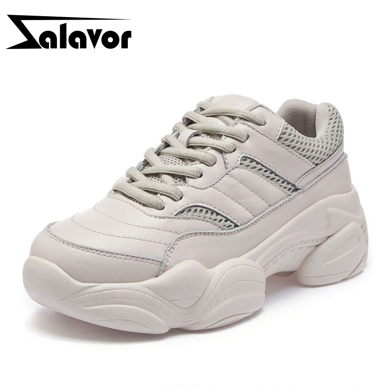 ZALAVOR Women Sneakers Black Real Leather Lace Up Outdoor Flats White Shoes Women Jogging Air Mesh