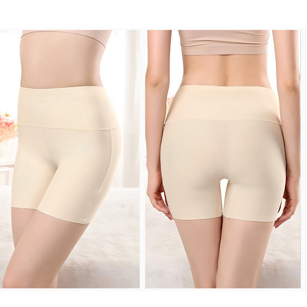 Soft Women Shorts Sexy Breathable High Waist Seamless Panties Summer Plasticity Thin Anti Chaffing Casual Solid Color Yellow