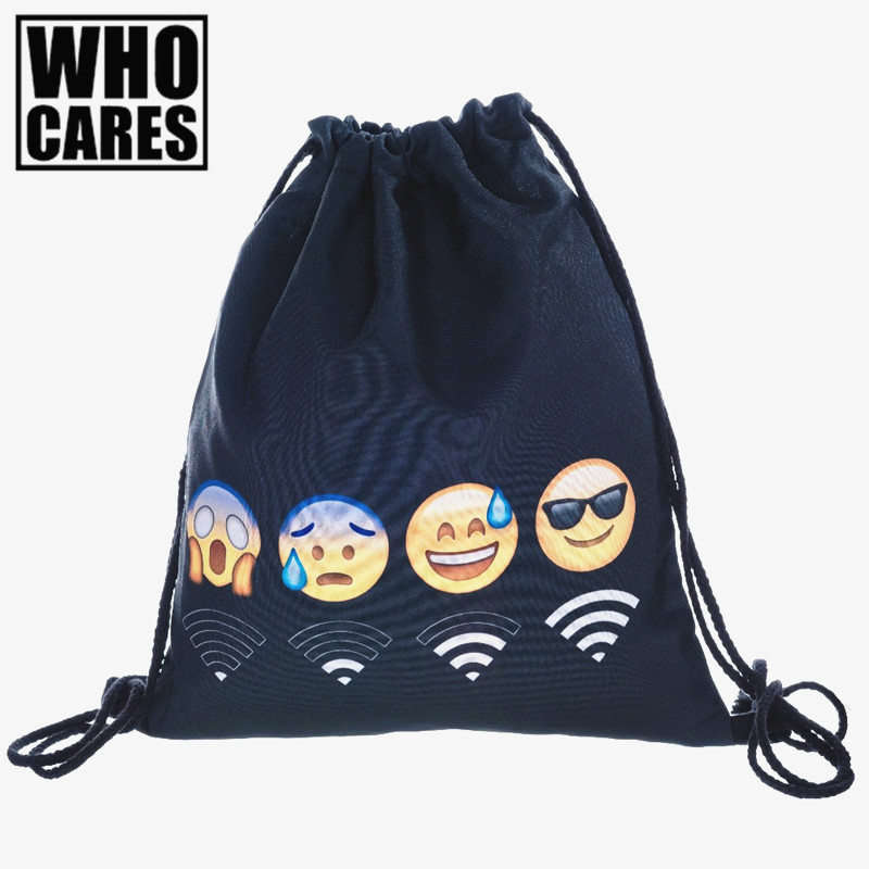 who cares Backpack WiFi EMOJI WIFI BLACK 3D printing 2017 travel softback women mochila drawstring bag mens backpacks sac a dos