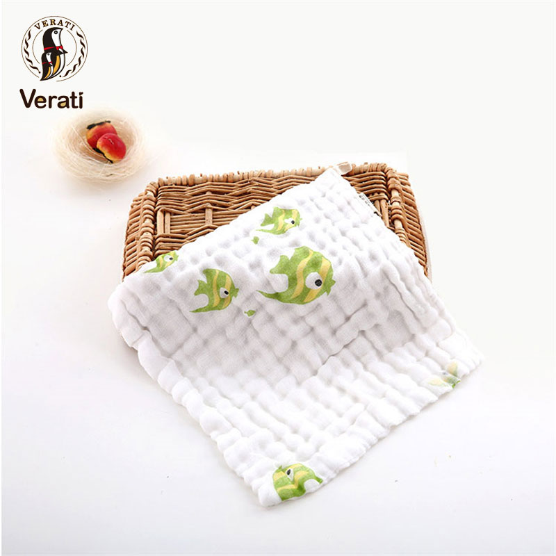 VERATI Cotton Baby Face Hand Bathing Towel Soft Cartoon Printed Square Towel For Newborns Boy Girl Feeding Wipe burp cloths V009