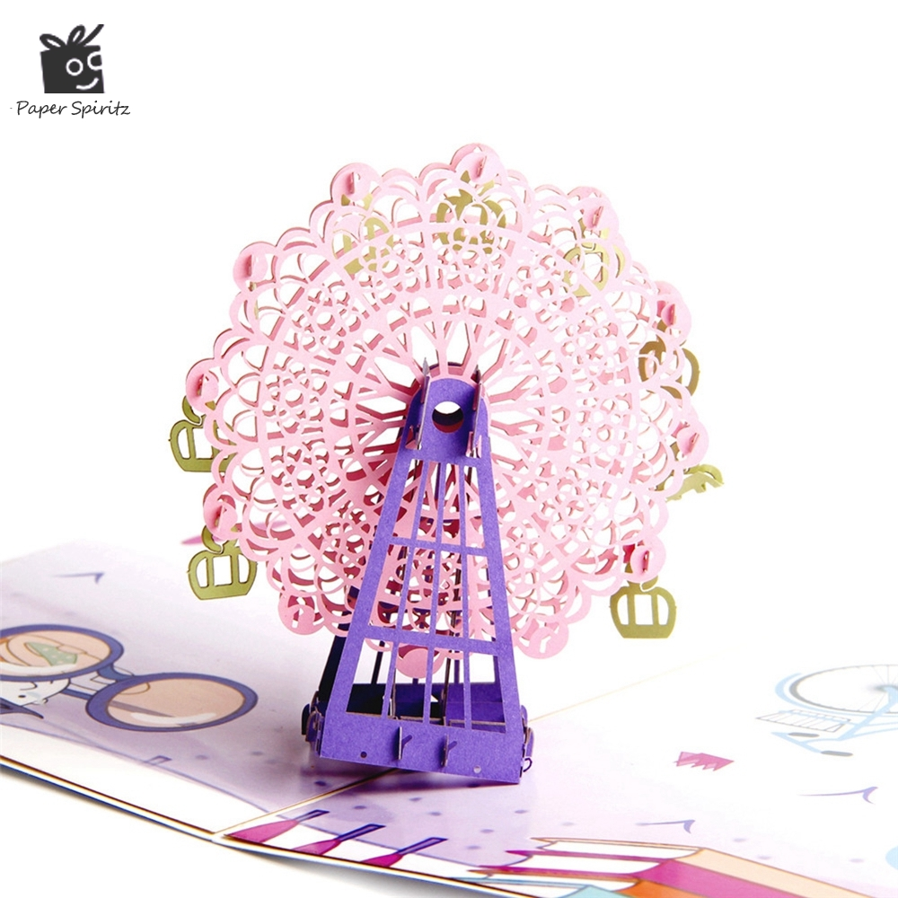 3D Laser Cut Pop Up Greeting Cards Baby Happy Birthday Postcards Paper Thank You Gift Message Cards Ferris Wheel 3d pop up paper laser cut greeting cards creative handmade cake birthday postcards for lover thank you cards h06