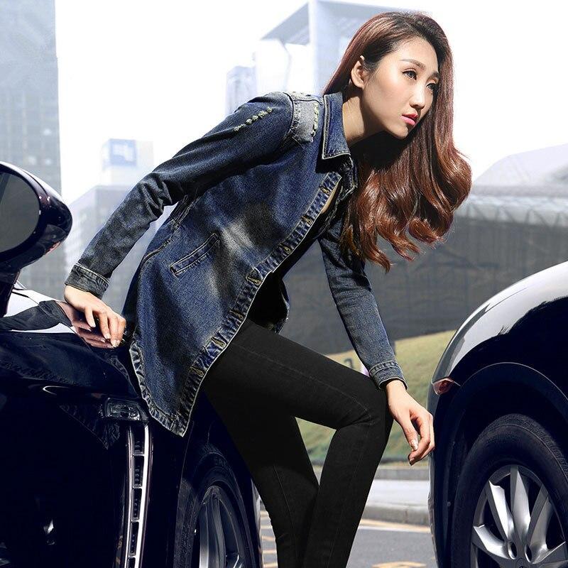 Jeans veste printemps femmes effiloché Denim manteau Slim trou Vintage Denim veste femme Jeans manteau survêtement mode tenue de femme TT225