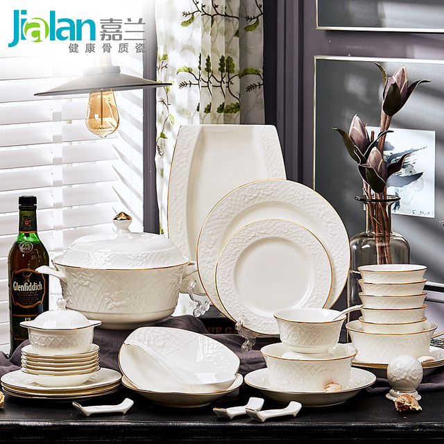 60 European dishes with garland boss suit China tableware bowl Phnom Penh relief Gift Set & 60 European dishes with garland boss suit China tableware bowl Phnom ...