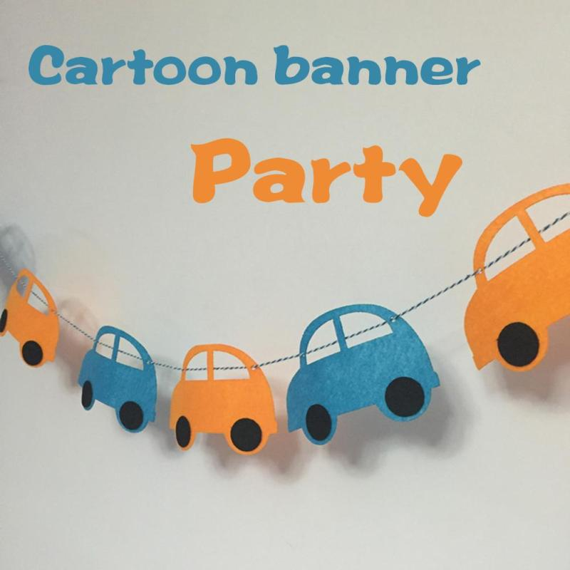 3m 6pcs Set Cute Mini Cars Flags Party Banner Wall Decor Baby Birthday Decorations Kids Room Decor Bunting Supplies 45
